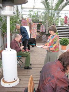 Rosemarie Kaufmann,Kaffe Fassett,Brandon Mably.Workshop 2008 in Jülich